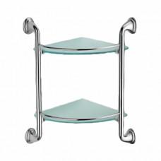 ZERIX LR1507-2 Полка угловая 2-ярусная (стекло) (250x250мм) (10 шт/ящ)