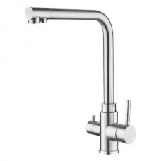 ZERIX LR4355-3 Смеситель для кухни из нерж. cтали SUS304 с выходом для питьевой