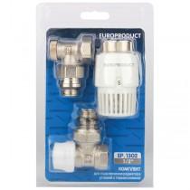 EUROPRODUCT EP.1302 - 1/2'' Комплект для подключения радиатора (угловой) с термоголовкой (28 шт/ящ)