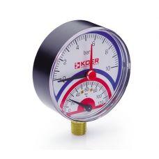 KOER Термо-Манометр радиальный 801R 10 bar, D=80мм, 1/2''