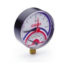 KOER Термо-Манометр радиальный 801R 4 bar, D=80мм, 1/2''