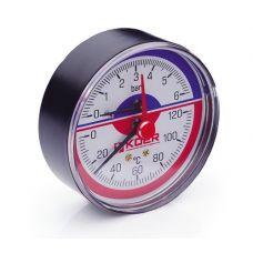 KOER Термо-Манометр аксиальный 802A 6 bar, D=80мм, 1/2''