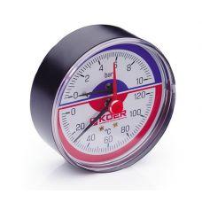 KOER Термо-Манометр аксиальный 802A 10 bar, D=80мм, 1/2''