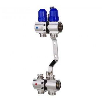 """KOER KR.1100-02 1""""x2 WAYS Коллекторный блок с термостатическими клапанами"""
