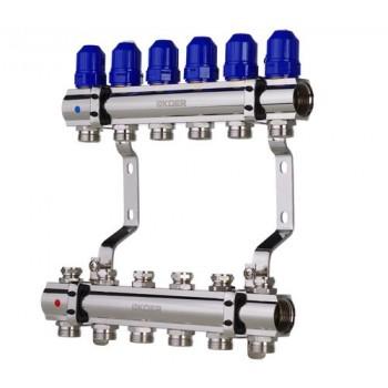 """KOER KR.1100-06 1""""x6 WAYS Коллекторный блок с термостатическими клапанами"""