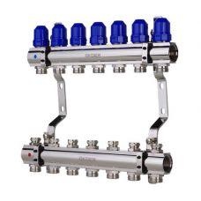 """KOER KR.1100-07 1""""x7 WAYS Коллекторный блок с термостатическими клапанами"""