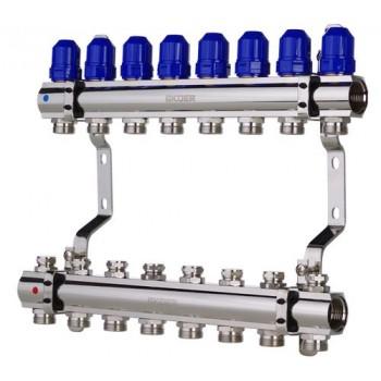 """KOER KR.1100-08 1""""x8 WAYS Коллекторный блок с термостатическими клапанами"""