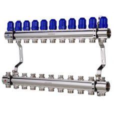 """KOER KR.1100-11 1""""x11 WAYS Коллекторный блок с термостатическими клапанами"""