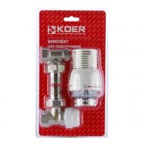 KOER KR.1320 1/2'' Комплект для подключения радиатора (угловой) с термоголовкой